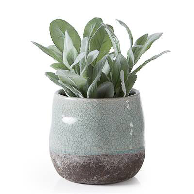 "Corsica Ceramic Crackle 2 Tone 4"" Round Pot in Celadon Blue"