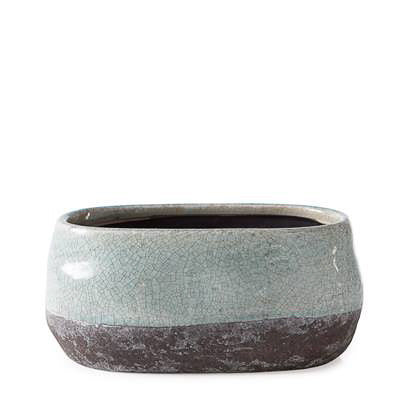 Corsica Ceramic Crackle 2 Tone Oval Pot Short in Celadon Blue design by Torre & Tagus