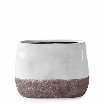 Corsica Ceramic Crackle 2 Tone Oval Pot Tall in White design by Torre & Tagus
