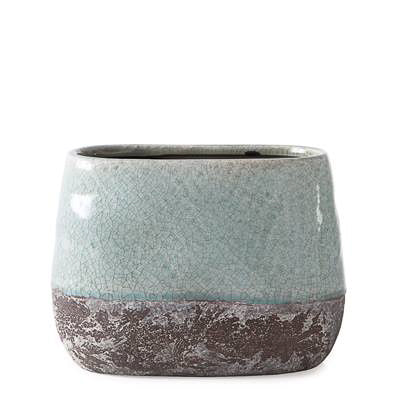Corsica Ceramic Crackle 2 Tone Oval Pot Tall in Celadon Blue design by Torre & Tagus