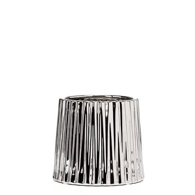 "Thena Ceramic Tapered 5.5"" Diameter Drop Pot in Silver design by Torre & Tagus"