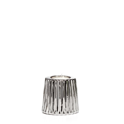Thena Ceramic Tapered Tealight Holder in Silver design by Torre & Tagus