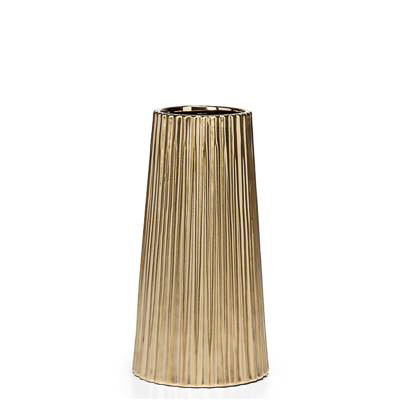 "Thena Ceramic Tapered 10""h Vase in Champagne design by Torre & Tagus"