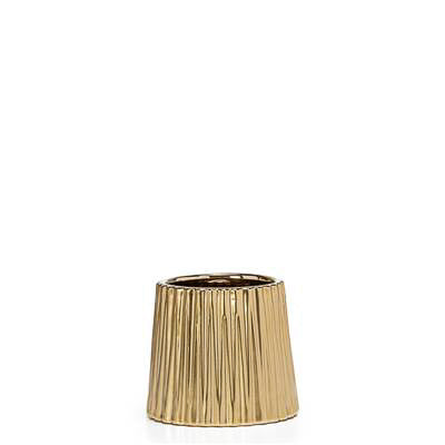 "Thena Ceramic Tapered 4"" Diameter Drop Pot in Champagne design by Torre & Tagus"