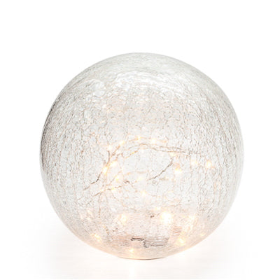 "LED Sphere 6"" Crackle Glass Decor Light"