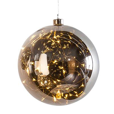 "Hanging Orb Smoke Mirror Glass 8"" Diameter LED Decor Ball  design by Torre & Tagus"