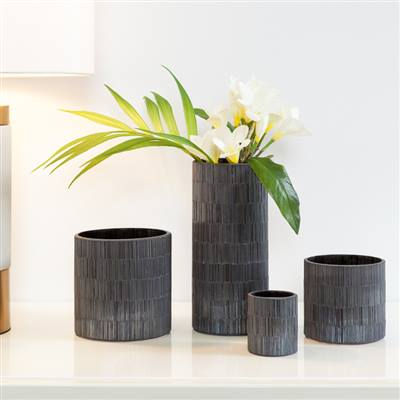 Bamboo Glass Mosaic Tealight Holder in Black design by Torre & Tagus