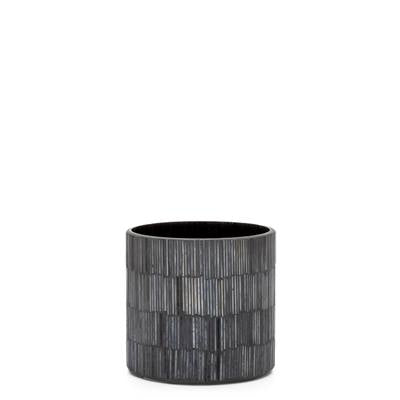 "Bamboo Glass Mosaic 4 x 4"" Drop Pot in Black design by Torre & Tagus"