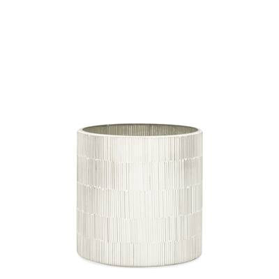 "Bamboo Glass Mosaic 5 x 5"" Drop Pot in Silver design by Torre & Tagus"