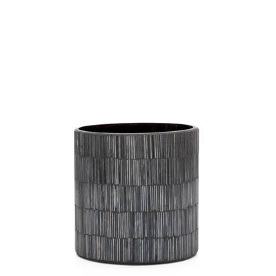 "Bamboo Glass Mosaic 5 x 5"" Drop Pot in Black design by Torre & Tagus"
