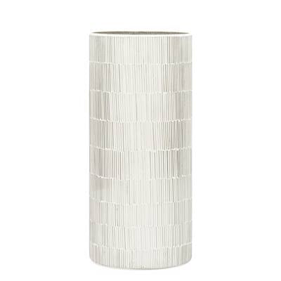 "Bamboo Glass Mosaic 4"" x 9""Cylinder Vase in Silver"