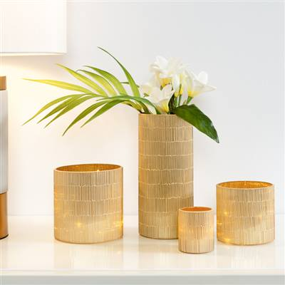 "Bamboo Glass Mosaic 4 x 9""Cylinder Vase in Gold"