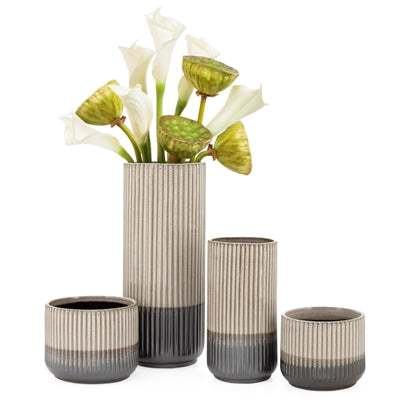 "Palma Layered Glaze Ceramic 9"" Vase in Creme design by Torre & Tagus"