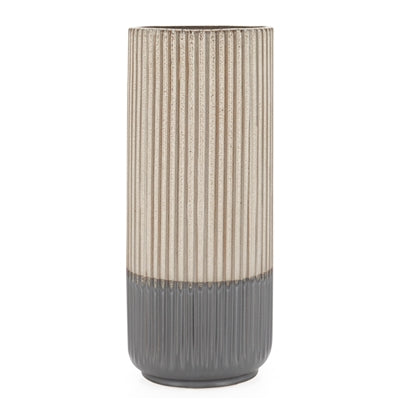 "Palma Layered Glaze Ceramic 13.5"" Vase in Creme"
