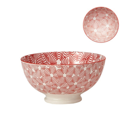 Medium Kiri Porcelain Bowl in Red W/ Red Trim