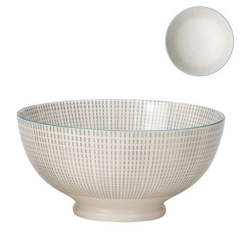 Medium Kiri Porcelain Bowl in Grey W/ Blue Trim design by Torre & Tagus