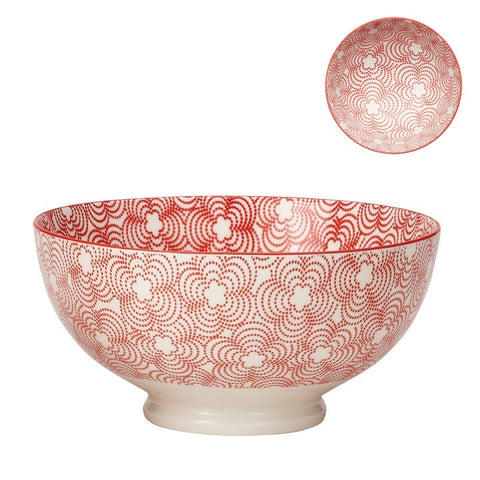Large Kiri Porcelain Bowl in Red w/ Red Trim