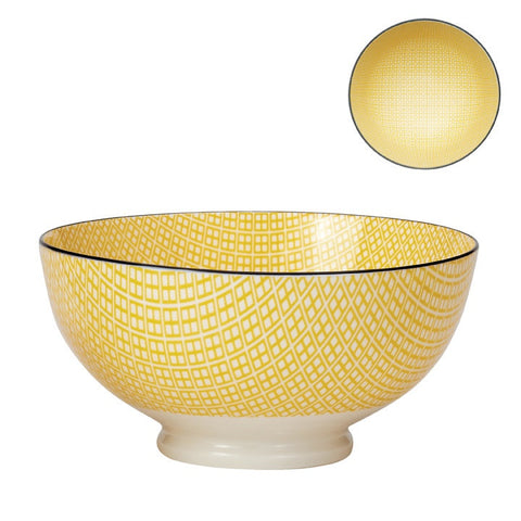 Medium Kiri Porcelain Bowl in Yellow w/ Black Trim design by Torre & Tagus