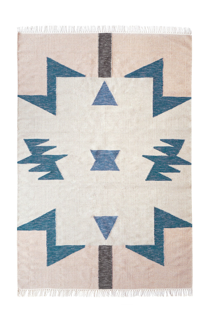 Large Kelim Rug in Blue Triangles by Ferm Living