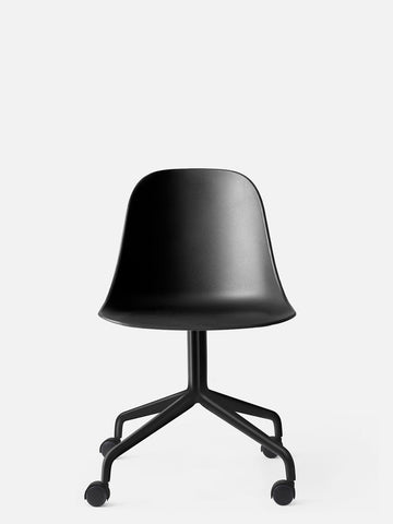 Harbour Hard Shell Swivel Base Side Chair w/ Black Steel Casters in Various Colors