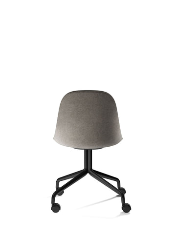 Harbour Upholstered Swivel Base Chair w/ Steel Black Legs & Casters in Various Colors