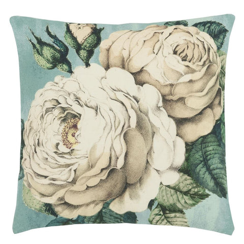 John Derianthe Rose Swedish Blue Decorative Pillow Design By Designers Guild