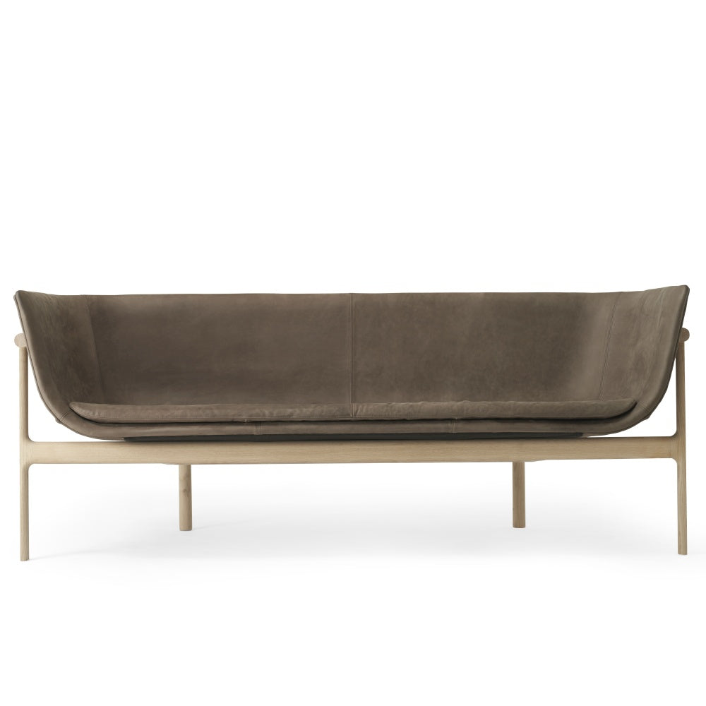 Tailor Lounge Sofa in Natural Oak & Dark Brown Leather design by Menu