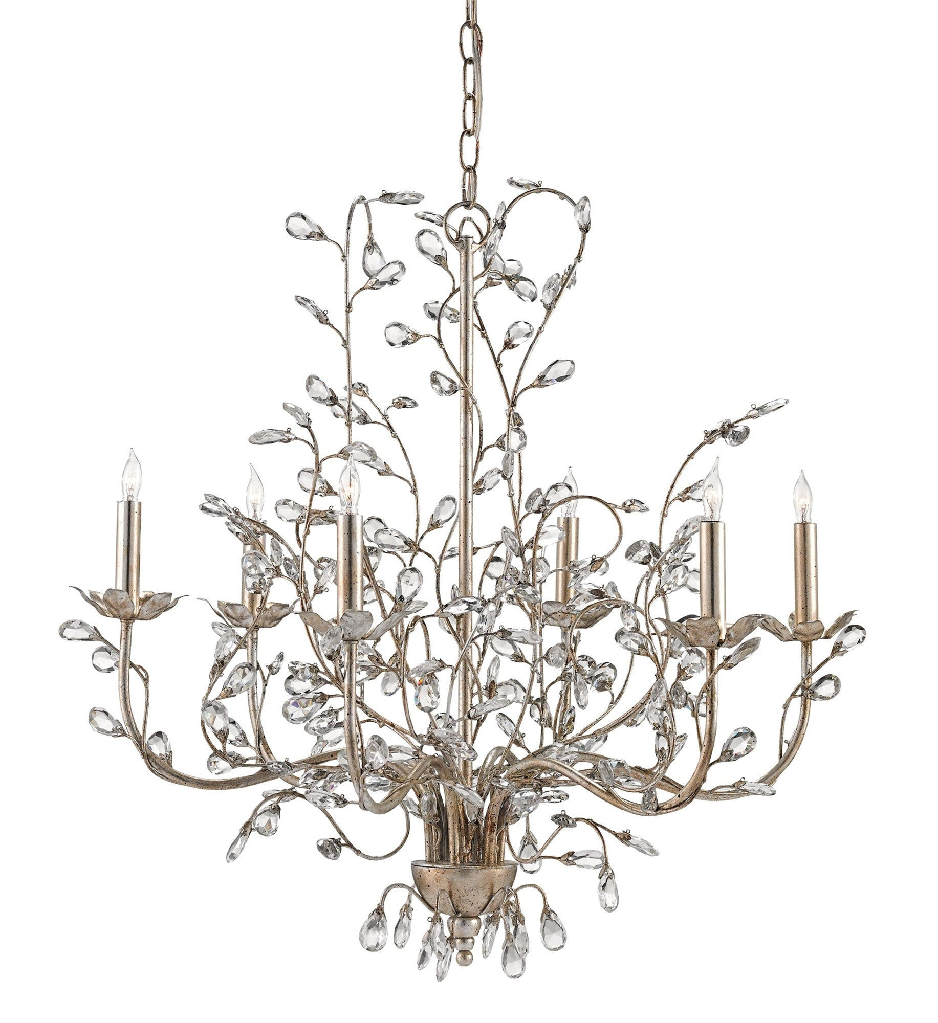 Currey And Company Vintner: Vintner Blanc Chandelier In Contemporary Silver