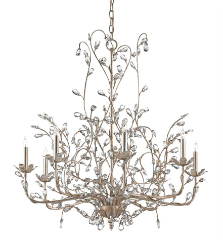 Large Crystal Bud Chandelier in Silver Granello