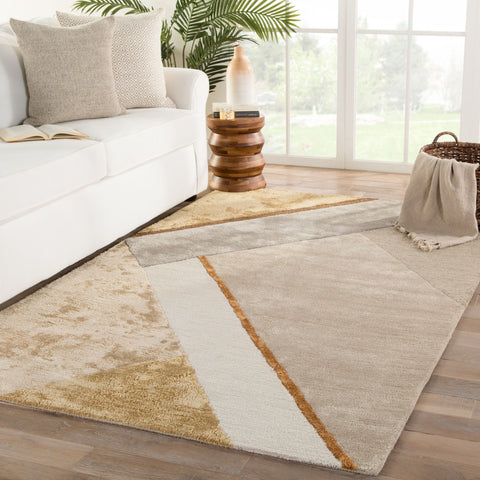 Iso Handmade Geometric Yellow & Gray Area Rug