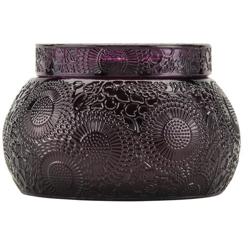 Chawan Bowl 2 Wick Embossed Glass Candle in Santiago Huckleberry design by Voluspa