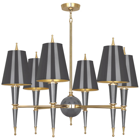 Versailles Chandelier in Various Finishes w/ Modern Brass Accents design by Jonathan Adler
