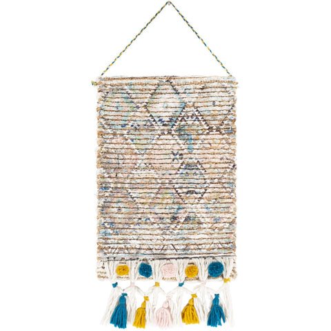 Amara AAA-1000 Hand Woven Wall Hanging in Aqua & Tan by Surya