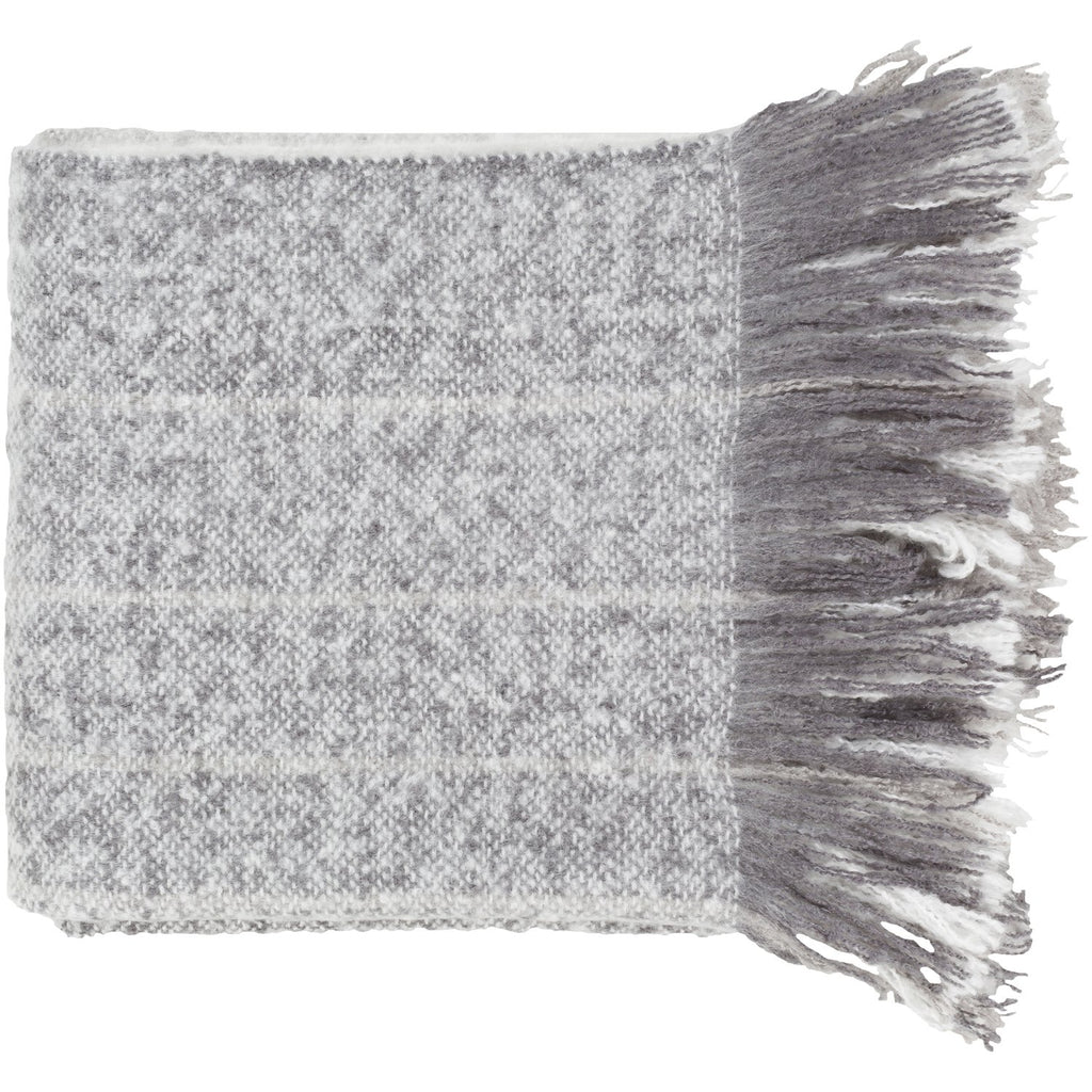 Arrah AAH-1001 Woven Throw in Medium Gray & White by Surya