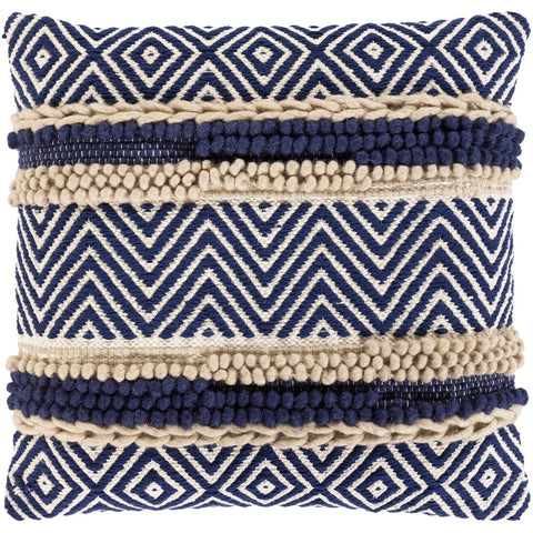 Avalon AAN-001 Hand Woven Square Pillow in Beige & Navy by Surya