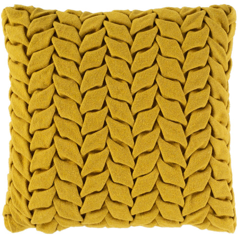Alana AAP-005 Felted Square Pillow in Mustard by Surya