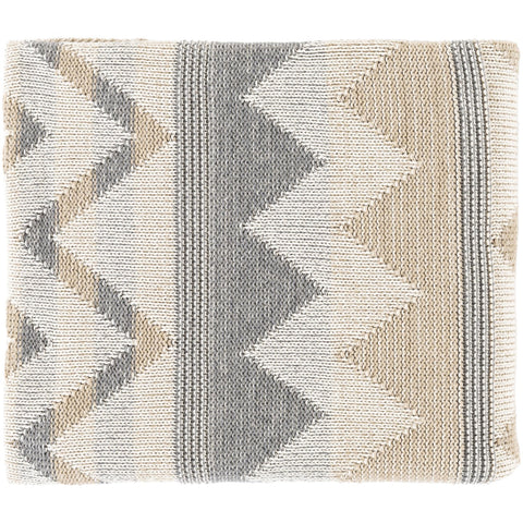 Adara AAR-1000 Knitted Throw in Khaki & Ivory by Surya