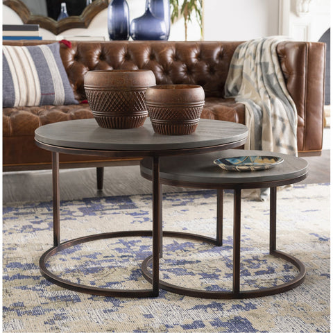 Aaron ARN-001 Round Nesting Table with Grey Top & Copper Base, 2-Piece Set by Surya