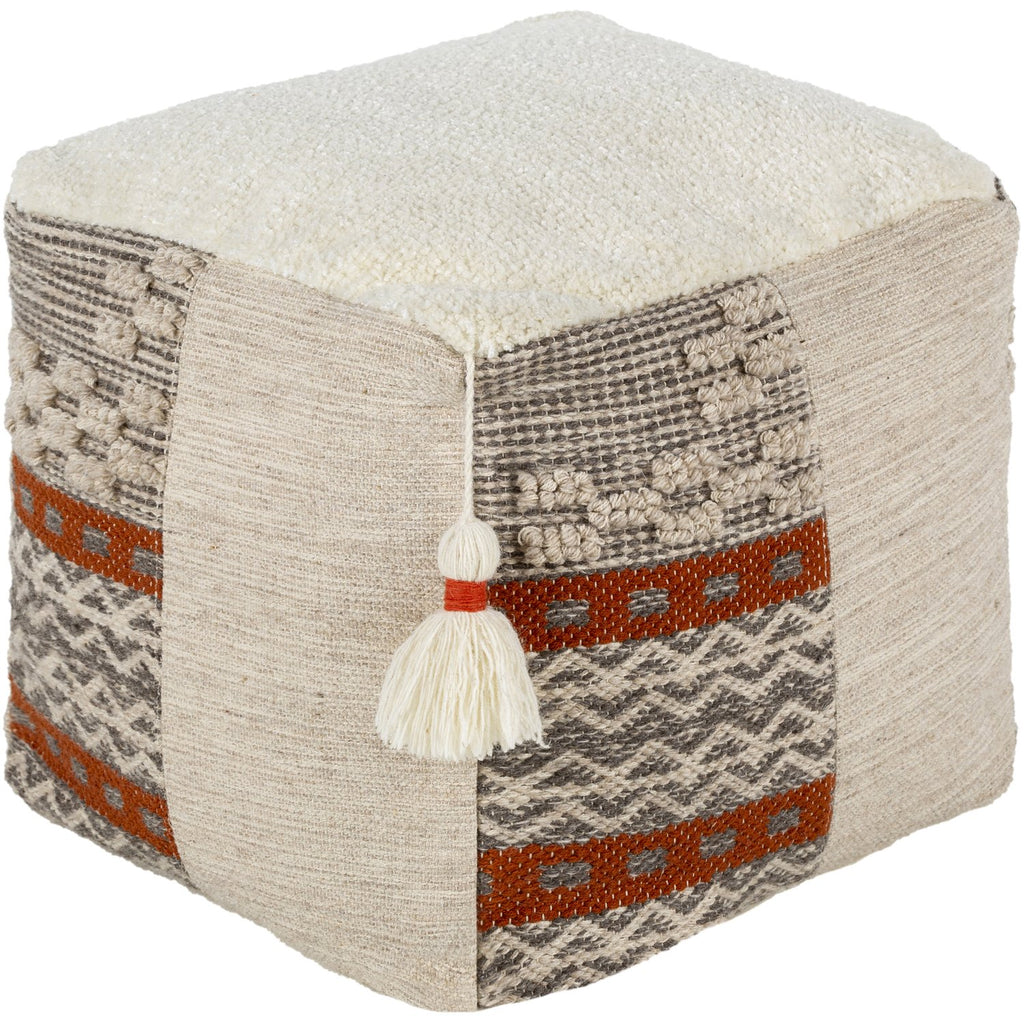 Abina ABPF-001 Hand Woven Pouf in Cream & Light Gray by Surya