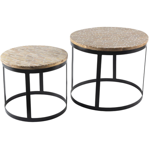 Abrazo ABR-002 Nesting Table with Black Base, 2-Piece Set by Surya