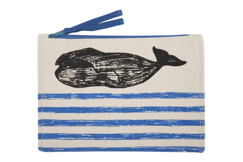 Whale Sketch Canvas Pouch design by Thomas Paul