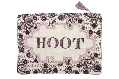 Hoot Embroidered Pouch design by Thomas Paul