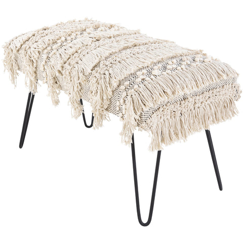 Adilah ADH-001 Upholstered Bench in Cream & Black by Surya