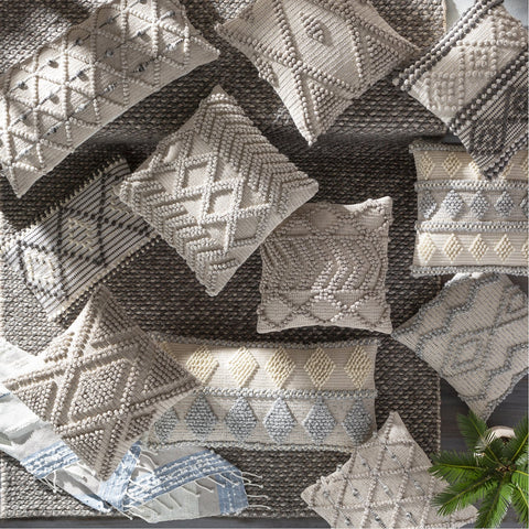 Anders ADR-002 Hand Woven Square Pillow in Charcoal & Beige by Surya