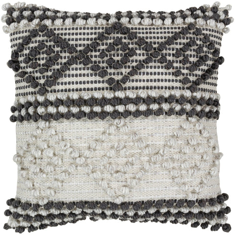 Anders ADR-002 Hand Woven Pillow in Charcoal & Cream by Surya