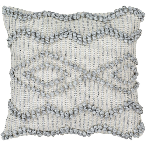 Anders ADR-003 Hand Woven Square Pillow Cream, Medium Gray, Khaki by Surya