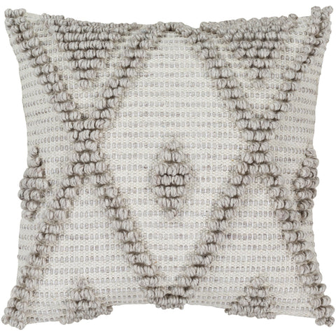 Anders ADR-005 Hand Woven Square Pillow in Cream & Khaki by Surya