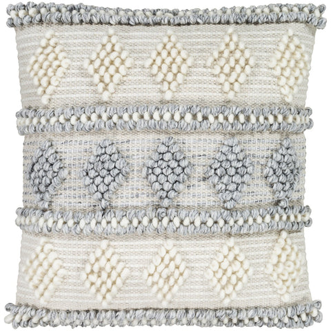 Anders ADR-006 Hand Woven Square Pillow Cream & Medium Gray by Surya