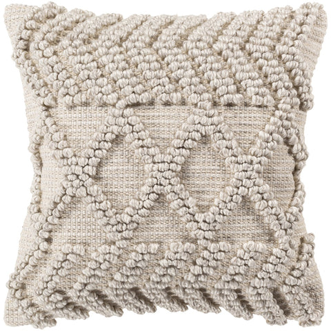 Anders ADR-008 Hand Woven Square Pillow in Light Gray & Khaki by Surya