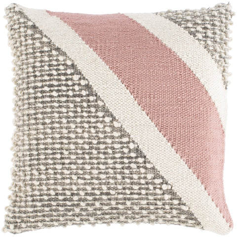 Amaretta AEO-001 Hand Woven Square Pillow in Cream & Rose by Surya